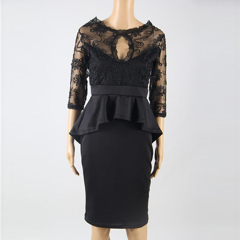 Sexy Black Splicing Backless Lace Dress