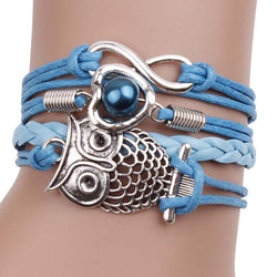 Hollow Out Owl Multilayers Leather Cord Bracelet