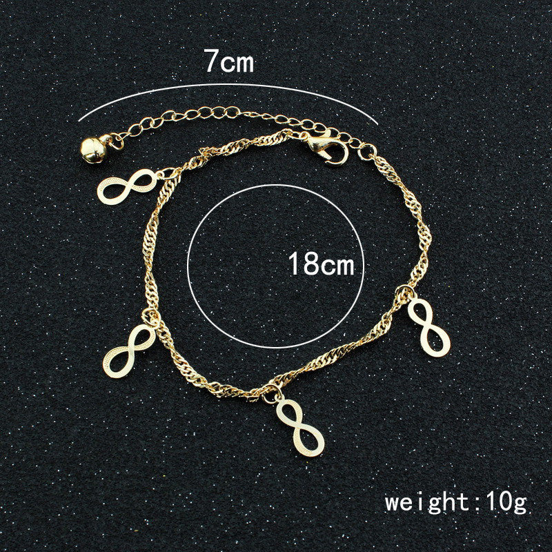 Golden Lucky 8 Women's Anklet