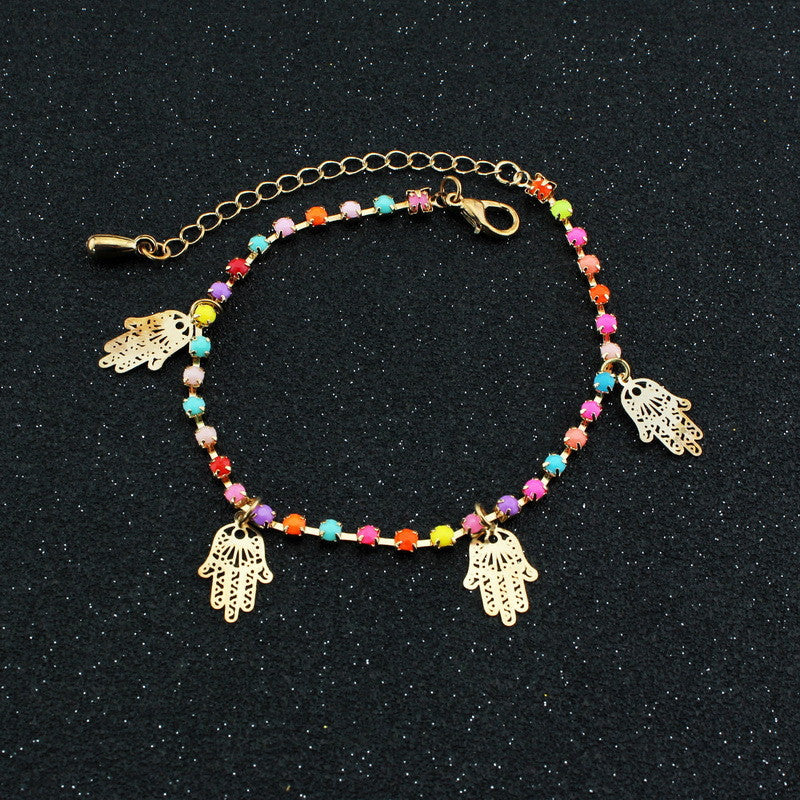 Colorful Crystal Hands Women's Anklet