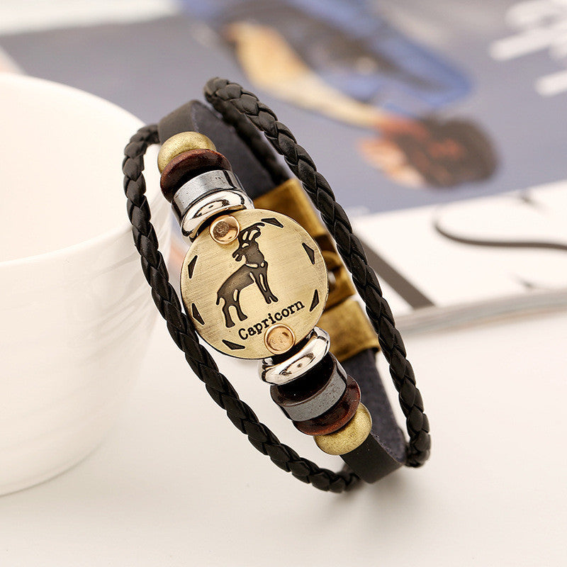 Capricorn Constellation Leather Bracelet