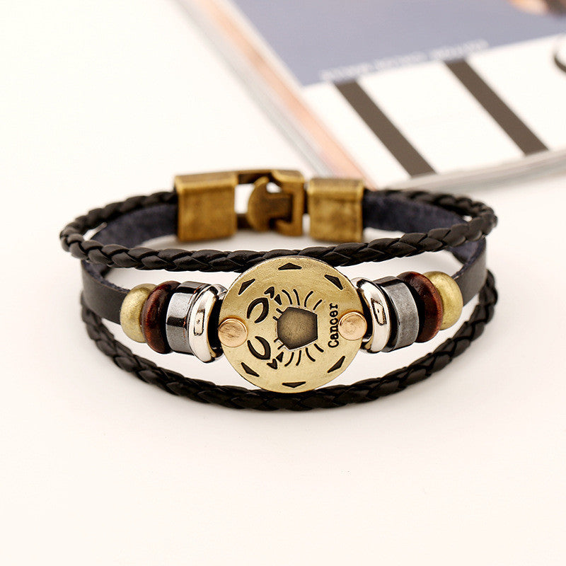 Cancer Constellation Leather Bracelet