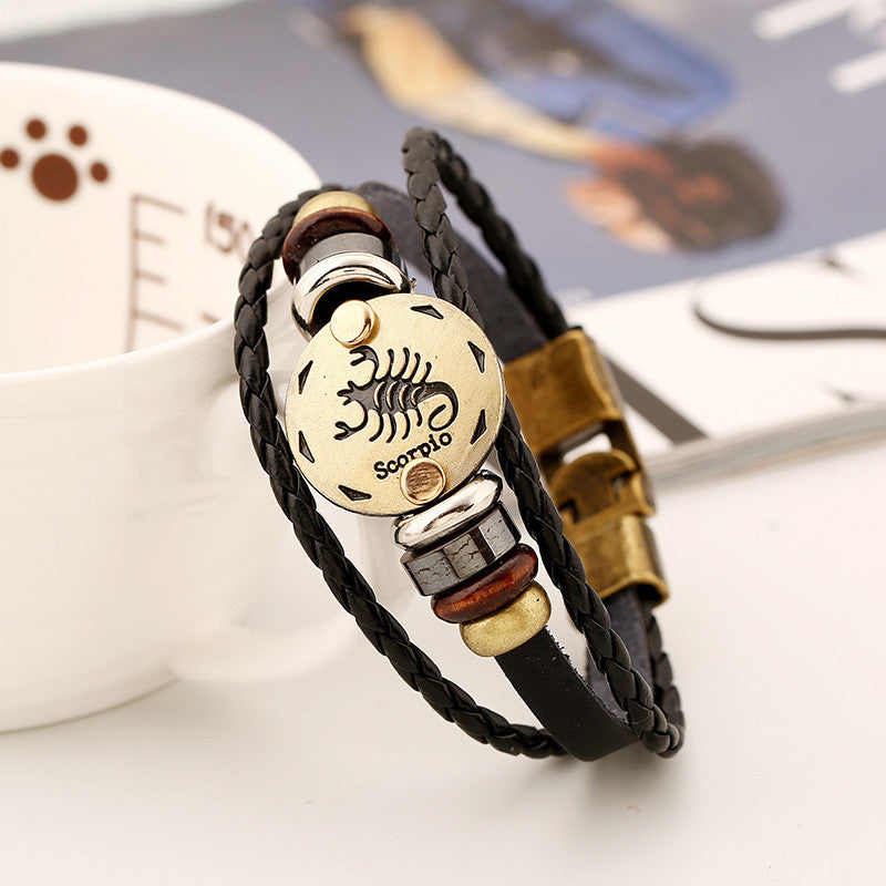 Scorpio Hand Woven Leather Bracelet