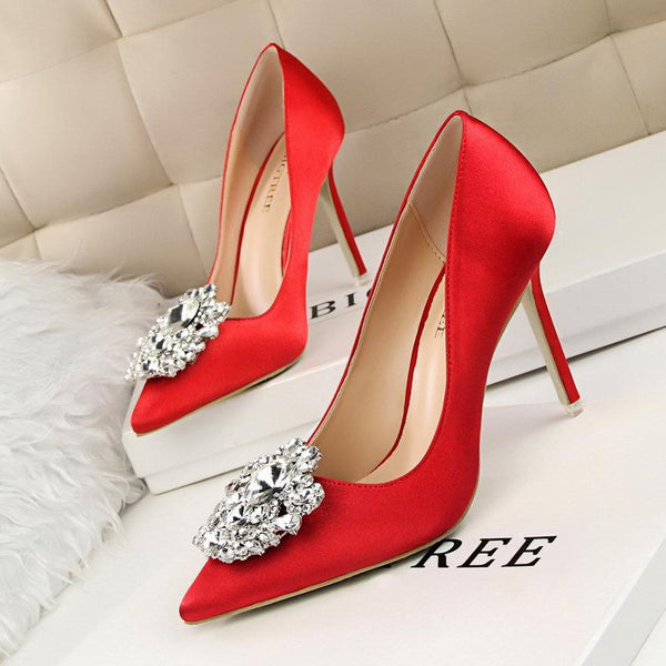 Crystal Decorate Pointed Toe Stiletto High Heels Bridal Shoes
