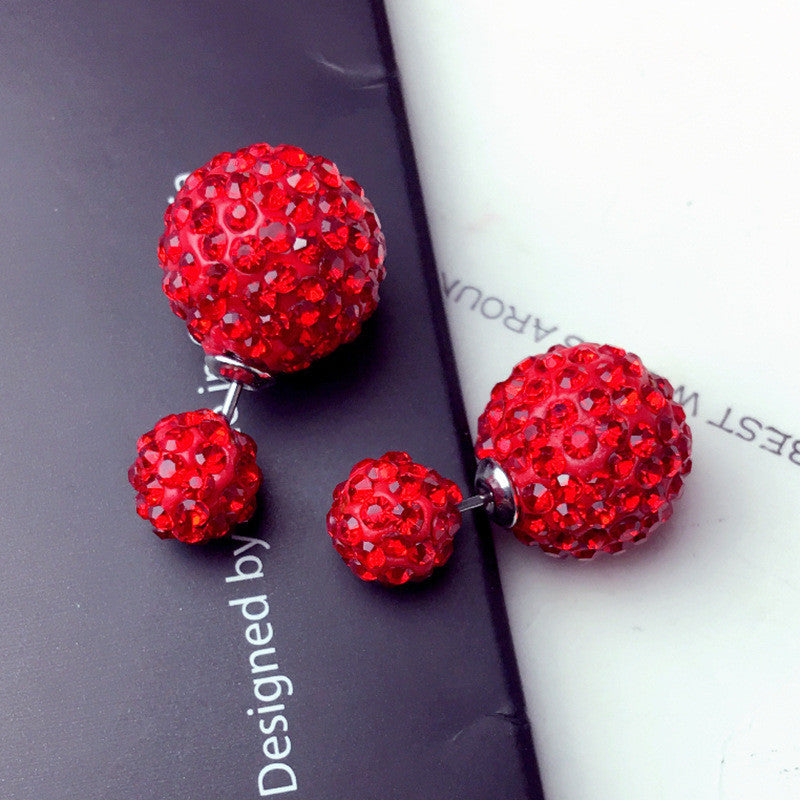 Crystal Double Shambhala Ball Earring