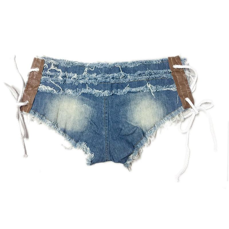 Low Waist Side Lace Up Women's Shorts