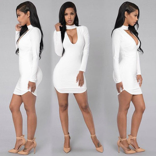 Pure Color High Neck Hollow Out Bodycon Irregular Short Dress