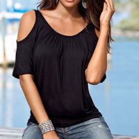 Casual Dew Shoulder Short Sleeve Pure Color Blouse