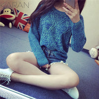 Fashion Long Sleeve Dip Hem Argyle Sweaters