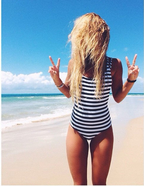 Black White Striped Straps Cross Back One Piece Swimwear