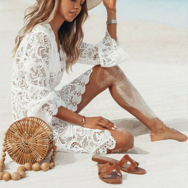 Hollow Out Cover Up Lace Beach Dress