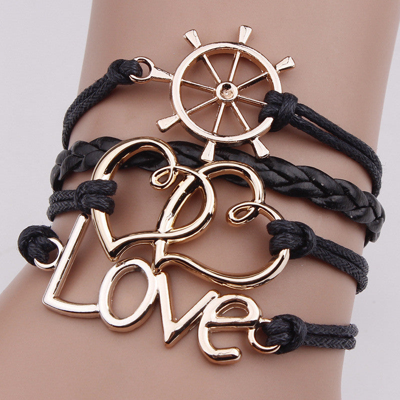 Retro Rudder Love Heart Fashion Bracelet
