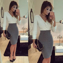 V-neck Long Sleeves Patchwork Bodycon Knee-length Dress