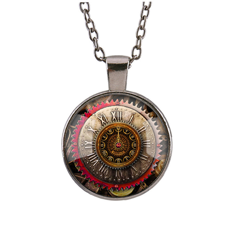 Gear Dial Pattern Time Gem Pendant Necklace