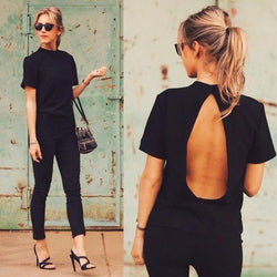 Halter Backless Short Sleeves Slim Sexy T-shirt - Meet Yours Fashion - 1