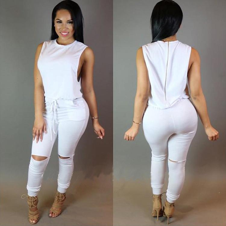 Sleeveless Draw String Split Knee Long Slim Jumpsuit