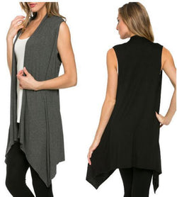 Simple Fashion Sleevelss Long Cardigan
