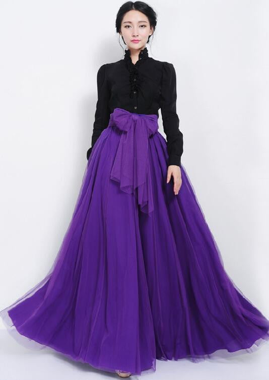 Pure Color Multi-Layer Mesh Long Skirt With Lace Belt