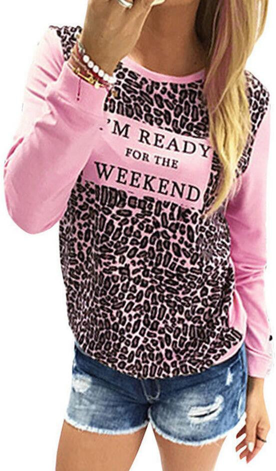 Leopard Print Long Sleeve Scoop Neck T-shirt