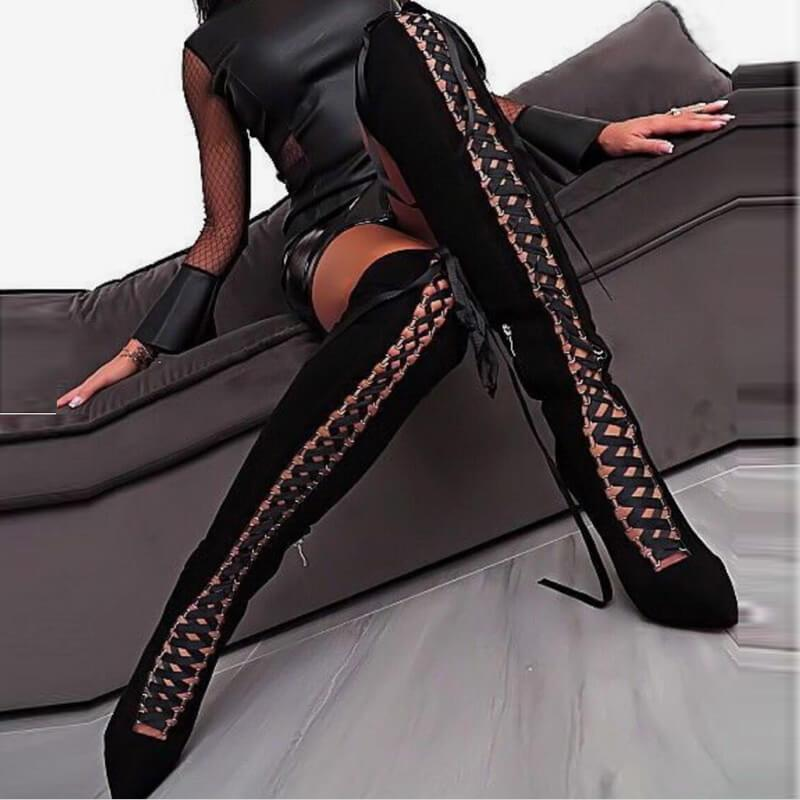 Black Over Knee Strappy Cutout Boots