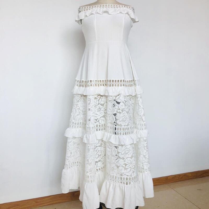 Off Shoulder Hollow Out White Party Dress