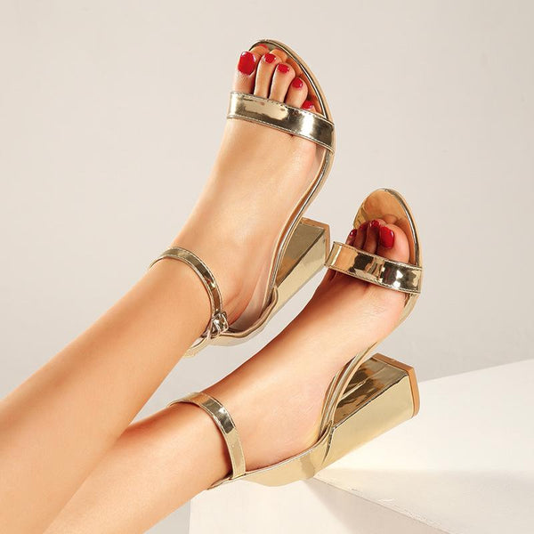 One button High Heel Sandals