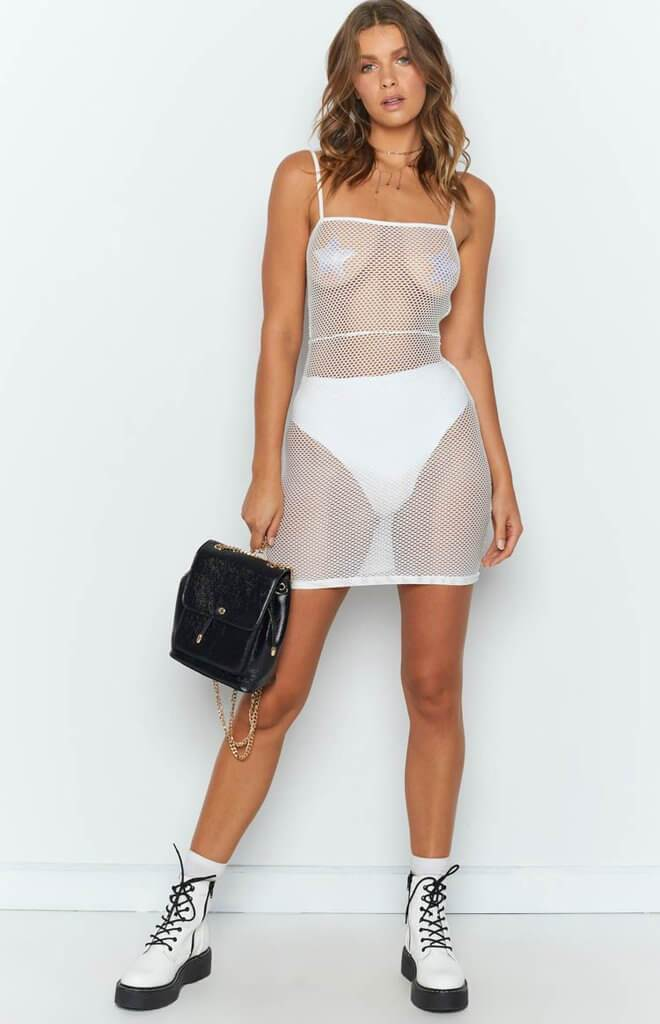 Pure Color Mesh hollow out Short Beach Sling Dress