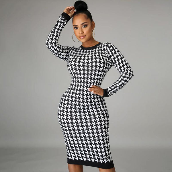 Long Sleeve Round Neck Blackless Print Dress