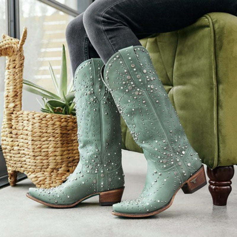 Block Heel Plain Slip-On Round Toe PU Western Boots