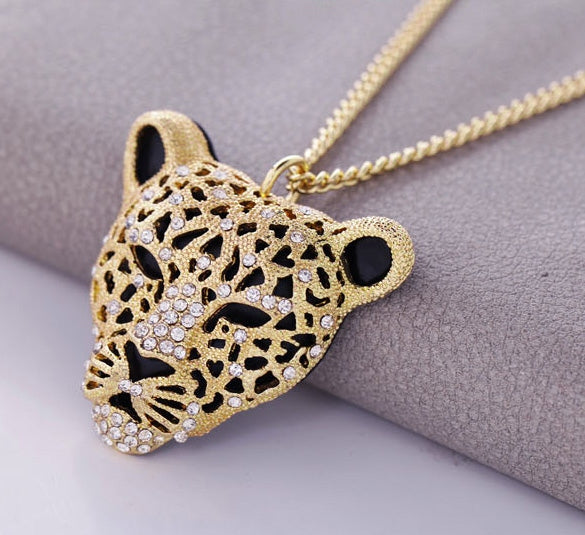 Rhinestone Leopard Tiger Head Chain Necklace Sweater