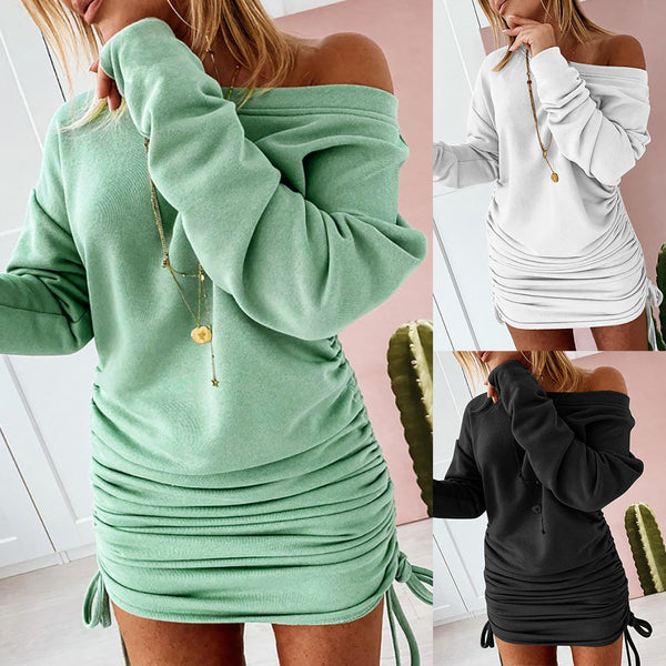 Scoop Neck Long Sleeve Bodycon Drawstring Dress