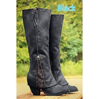 Lace Suede Patchwork Side Zipper Chunky Low Heels Knee Boots