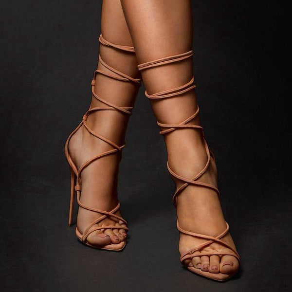 Pointed Roman strapped stiletto sandals