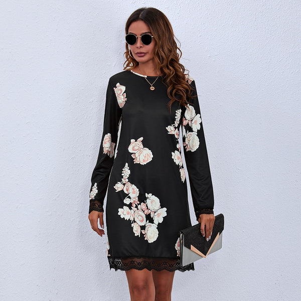 Printed Round Neck Lace Long Sleeve Dress