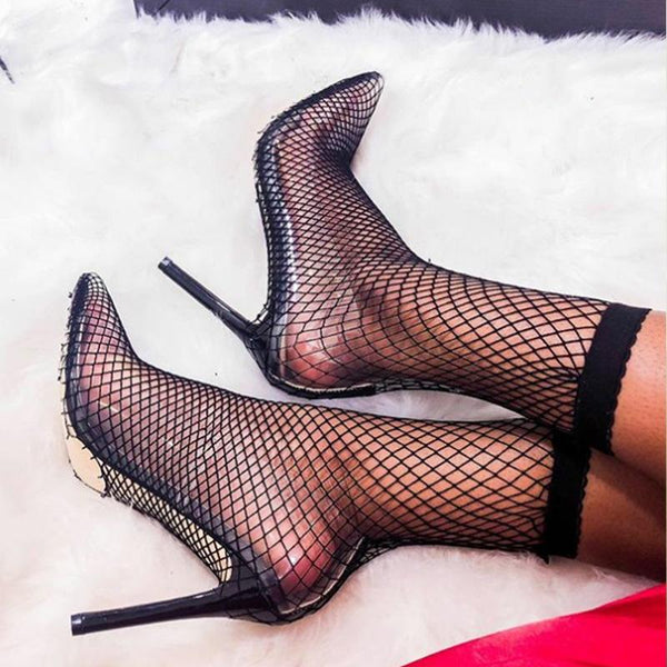 Gauze hollow thin high heel sandals