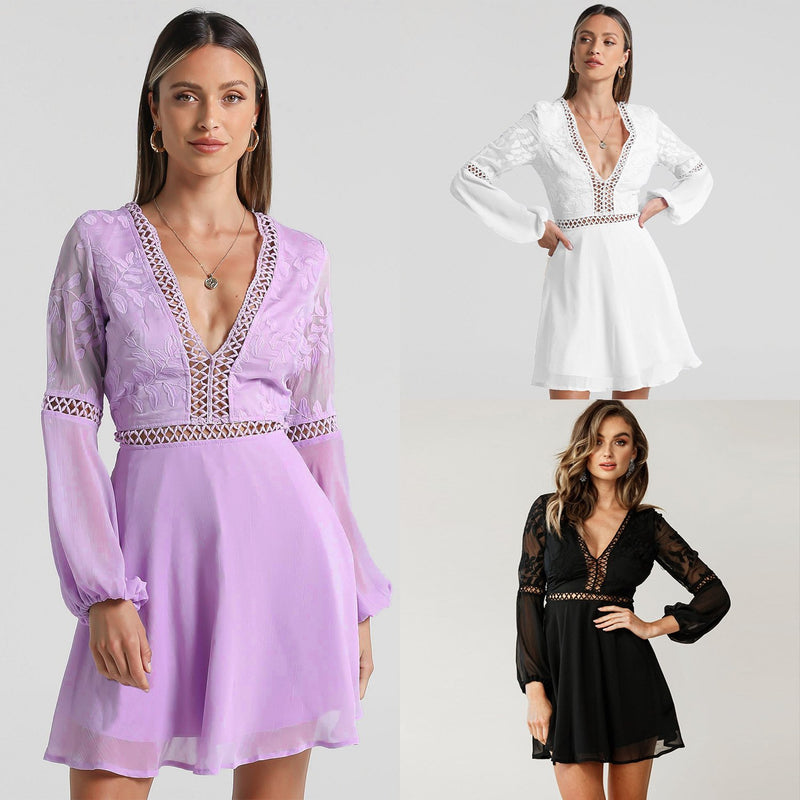 V-neck embroidered cut out lace Dress