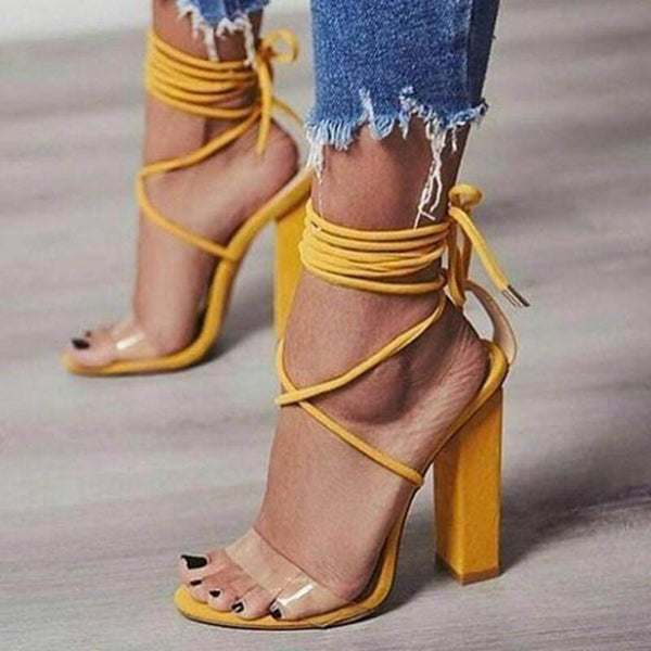 Strapped high heeled sandals