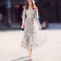Embroidery Flowers Transparent Mesh Patchwork Tee-length Dress