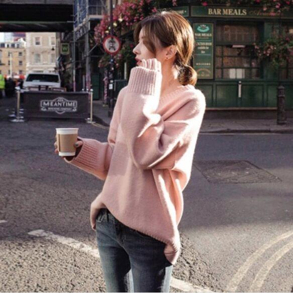Long Sleeves Pure Color V-Neck Loose Sweater