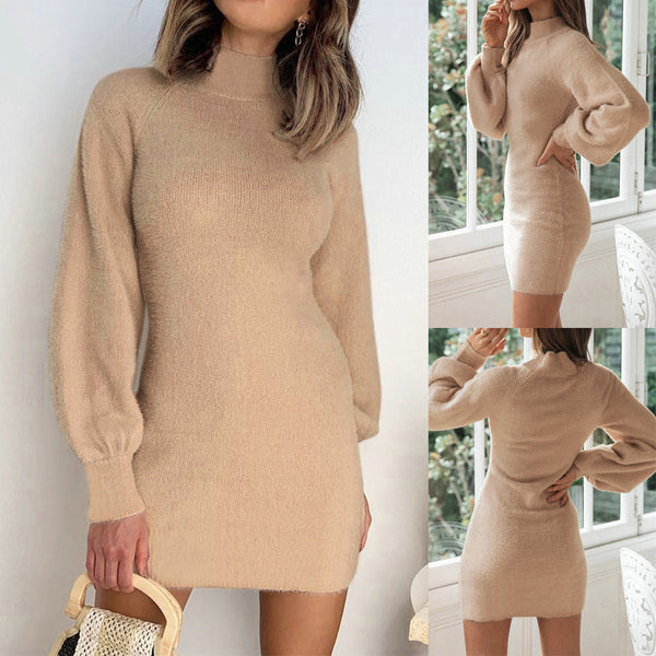 Mid high Neck Long Sleeve Sweater Bodycon Dress