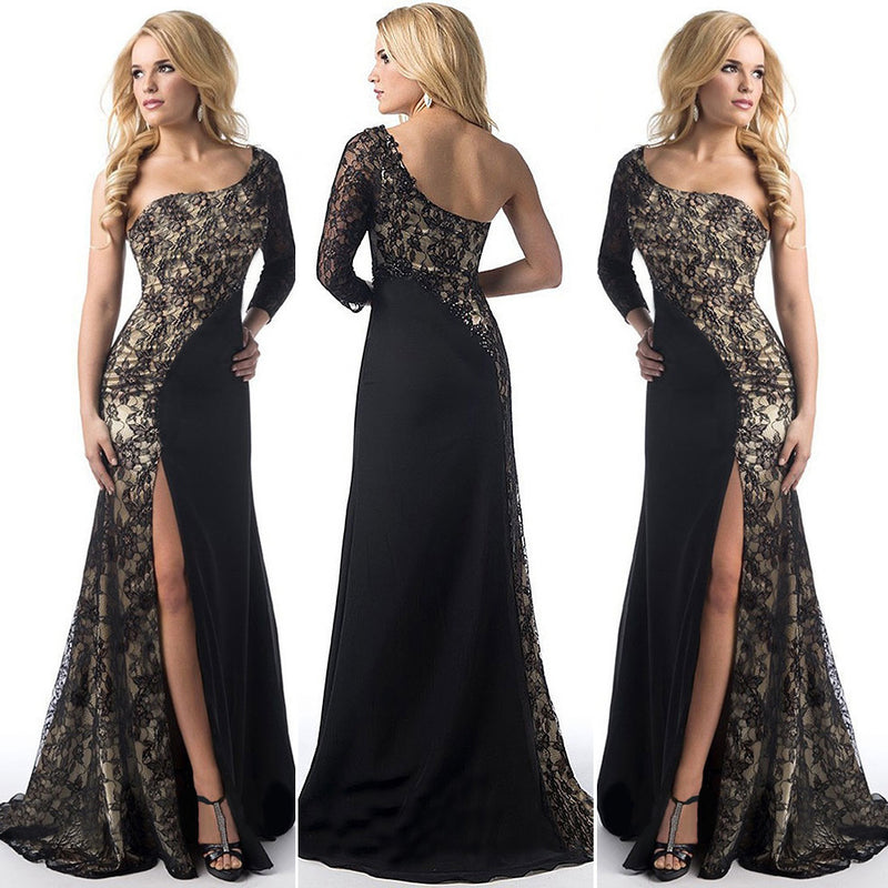 Sexy Lace Splicing One Shoulder Long Party Dress