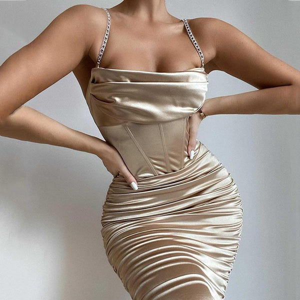 Diamond shoulder Pleated Satin Dress