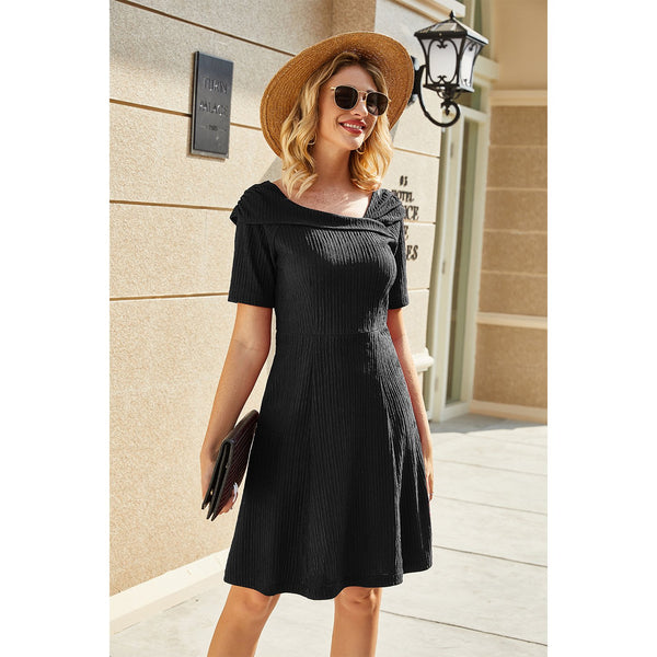 Short Sleeve High Waisted Midi Dress
