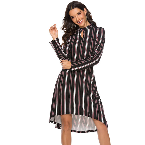 Striped Long Sleeve Swing Dress