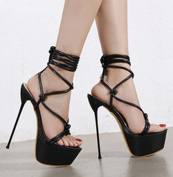 Cross strap stiletto party sandals