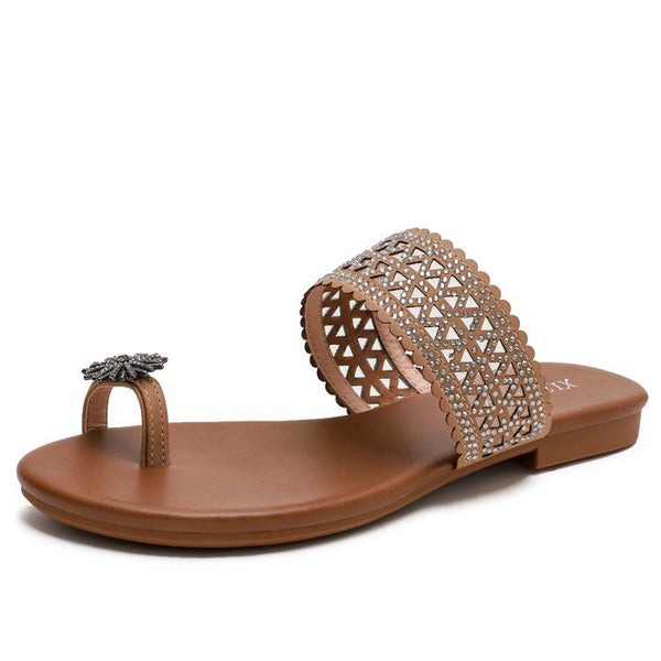 Bohemian seaside Roman diamond sandals
