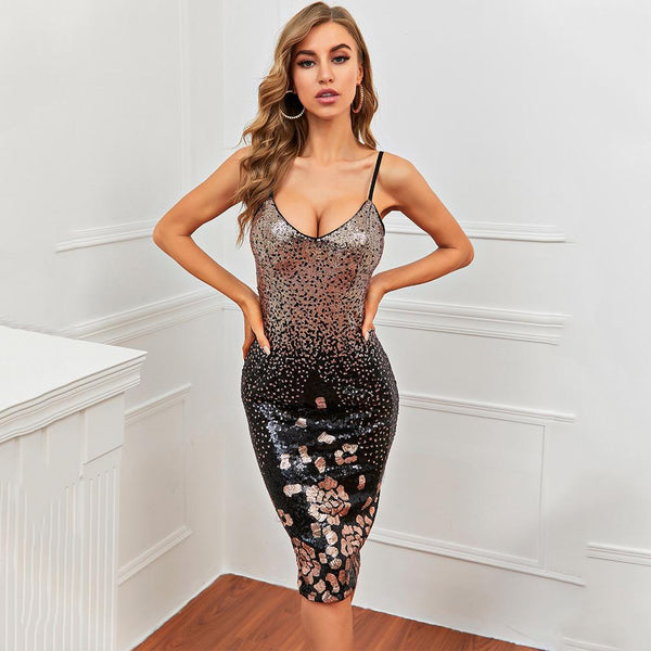 Suspender V-neck Sequin Dress