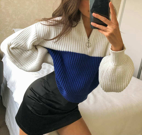 Loose Mid High Collar Contrast Zip Sleeve Sweater