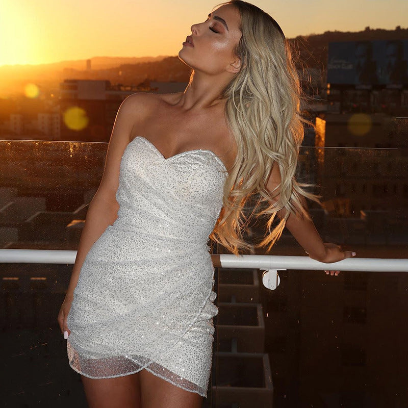 Sexy Sequin Off Shoulder Bodycon Dress