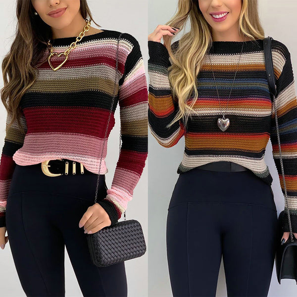 Round Neck Casual Color Contrast Stripe Sweater